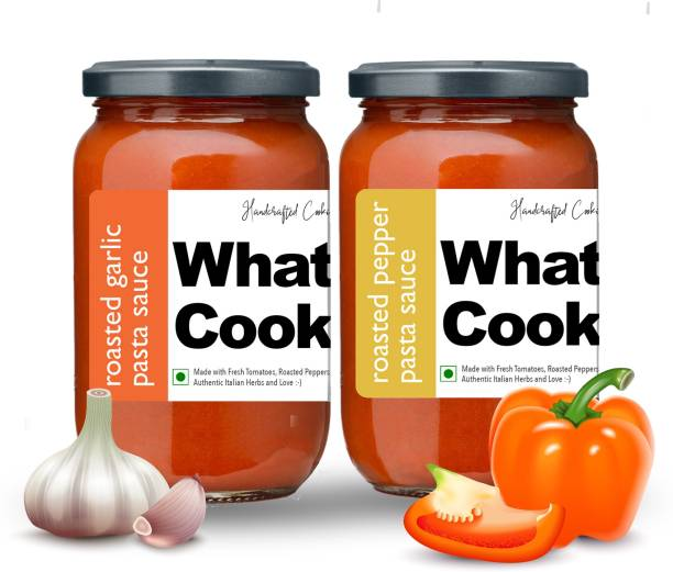 What's Cooking Super Saver Combo Roasted Pepper Pasta Sauce & Roasted Garlic Pasta Sauce (Homemade, Gourmet, Ready to Cook) 300ml Each (Pack of 2) Sauce