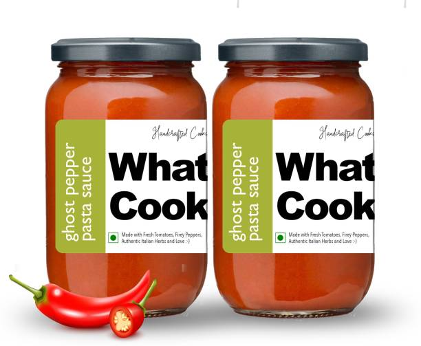 What's Cooking Ghost Pepper Authentic Italian Red Pasta Sauce Pizza Sauce Dressing (Homemade, Gourmet, Ready to Cook) 300ml (Pack of 2) (2 X 300ml) Sauce