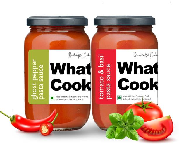 What's Cooking Super Saver Combo Tomato Basil Pasta Sauce & Ghost Pepper Pasta Sauce (Homemade, Gourmet, Ready to Cook) 300ml Each (Pack of 2) Sauce