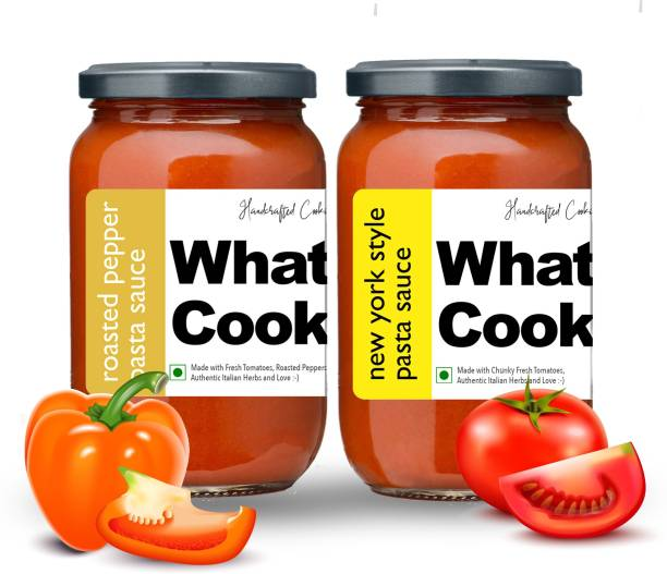 What's Cooking Super Saver Combo Roasted Pepper Pasta Sauce & New York Style Pasta Sauce (Homemade, Gourmet, Ready to Cook) 300ml Each (Pack of 2) Sauce