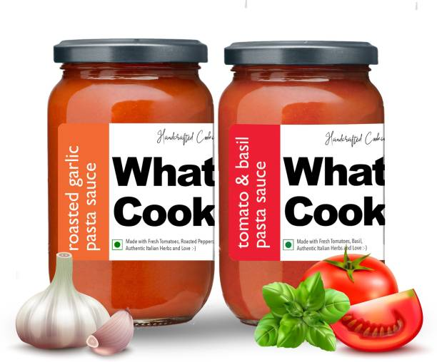 What's Cooking Super Saver Combo Tomato Basil Pasta Sauce & Roasted Garlic Pasta Sauce (Homemade, Gourmet, Ready to Cook) 300ml Each (Pack of 2) Sauce