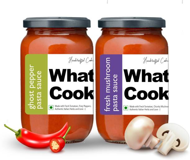 What's Cooking Super Saver Combo Fresh Mushroom Pasta Sauce & Ghost Pepper Pasta Sauce (Homemade, Gourmet, Ready to Cook) 300ml Each (Pack of 2) Sauce