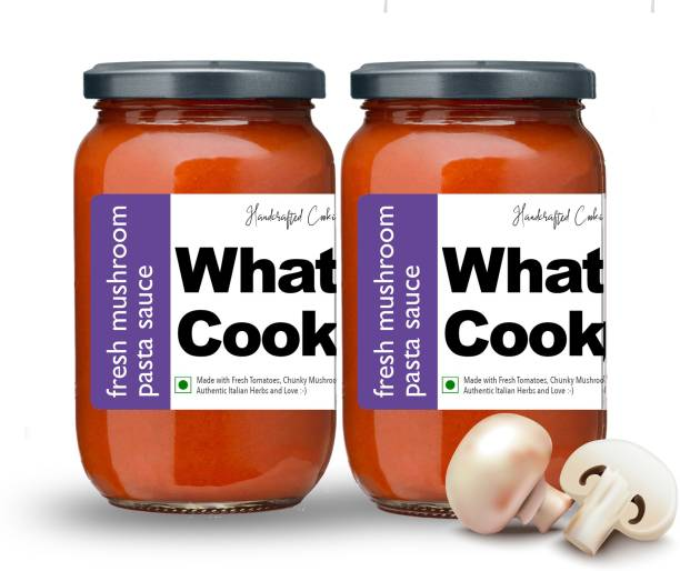 What's Cooking Fresh Mushroom Authentic Italian Pasta Sauce Pizza Sauce Dressing (Homemade, Gourmet, Ready to Cook) 300ml (Pack of 2) (2 X 300ml) Sauce