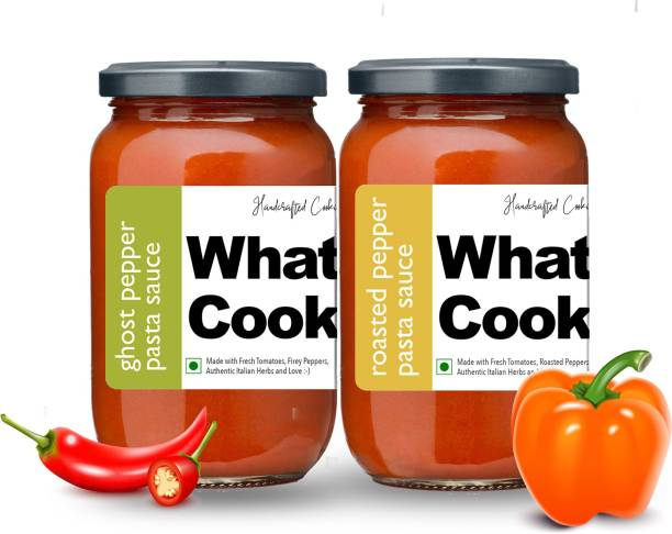 What's Cooking Super Saver Combo Roasted Pepper Pasta Sauce & Ghost Pepper Pasta Sauce (Homemade, Gourmet, Ready to Cook) 300ml Each (Pack of 2) Sauce