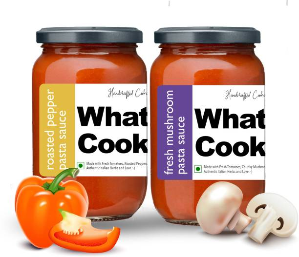 What's Cooking Super Saver Combo Fresh Mushroom Pasta Sauce & Roasted Pepper Italian Pasta Sauce (Homemade, Gourmet, Ready to Cook) 300ml Each (Pack of 2) Sauce