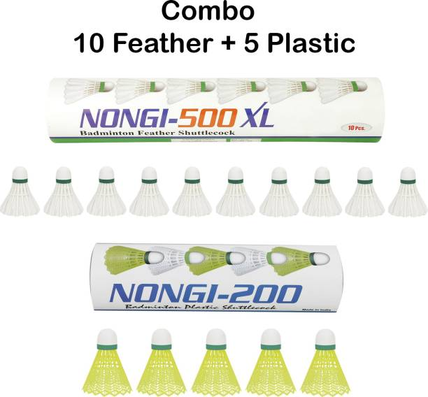 Nongi 500XL combo Feather and Plastic Shuttle  - Yellow