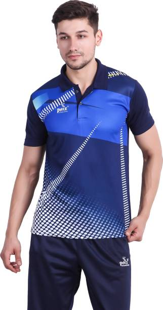 Pace International Printed Men Polo Neck Multicolor, Dark Blue T-Shirt