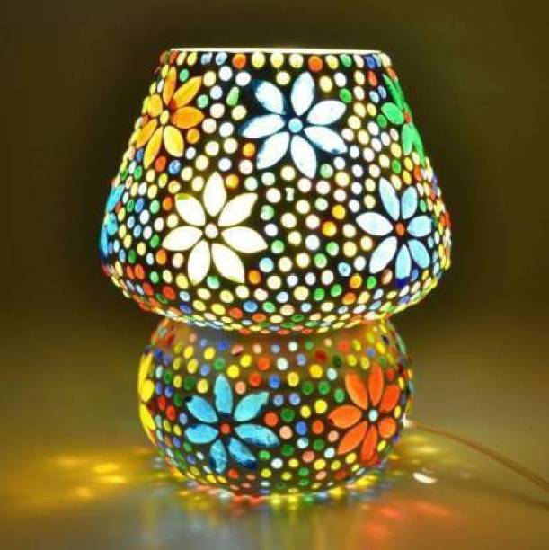 ONECYA Mosaic Style Dome Shaped Glass Table Lamp (Multicolour) Table Lamp