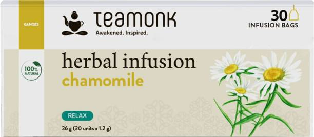 Teamonk Chamomile Herbal Infusion, 30 Teabags   Herbal Tea for Relaxation Chamomile Herbal Tea Bags Pouch