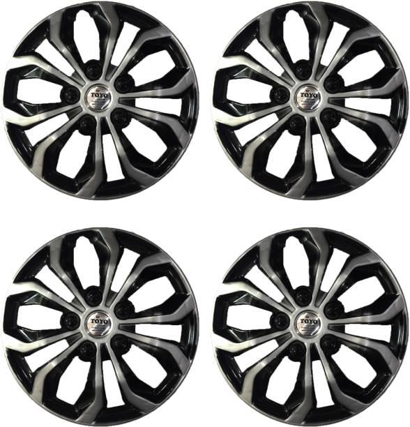 Toyo RUN SILVER/ BLACK Wheel Cover For Mahindra, Skoda, Hyundai, Maruti, Honda Swift Dzire, Indigo, i20