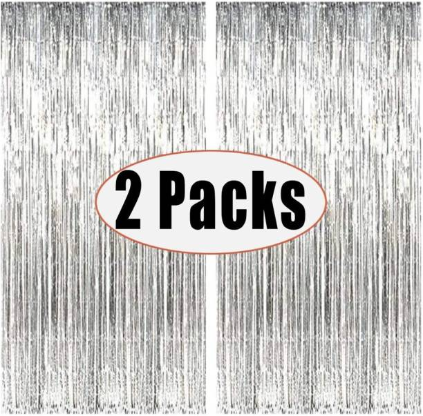 Saikara Collection 2pcs 3ft x 8.3ft Silver Metallic Tinsel Foil Fringe Curtains Photo Booth Props for Birthday Wedding Engagement Bridal Shower Baby Shower Bachelorette Holiday Celebration Party Decorations