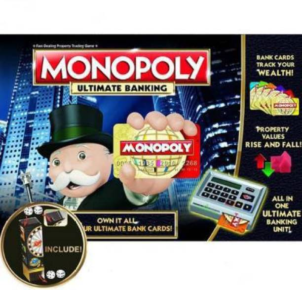 Royaldeals Gaming Monopoly Ultimate Banking 2-4 Players Board Game Accessories Board Game With Electronic Banking Unit Money & Assets Games Board Game