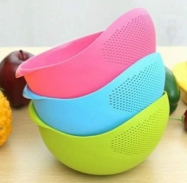 HUMBLE KART rice pulses fruits vegetable noodles pasta washing bowl Colander (Multicolor Pack of 3) Colander