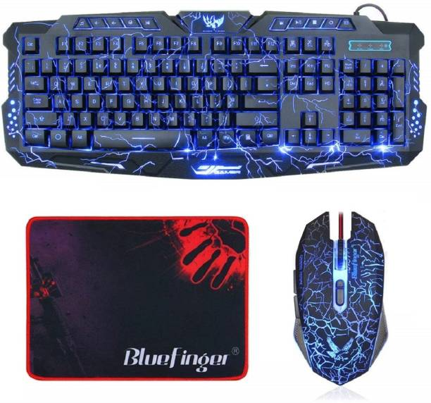 Bluefinger Wired Blue Red Purple Color LED Backlit Keyboard and Mouse Set with Cool Crack Pattern Color - Black for Laptop & Desktop Gaming Mouse Pad Combo Set