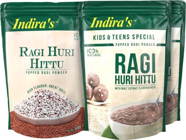 Indira Ragi Huri Hittu 400g (1 No) & Ragi Special Huri Hittu 400g (2 Nos) Combo