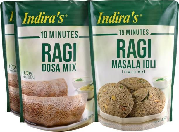 Indira Ragi Dosa Mix 500g (2 Nos) & Ragi Masala Idli 400g (1 No) Combo
