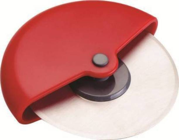 Sharanam Round Wheel Pizza Cutter Sandwich Cutter with Stainless Steel (Red) Wheel Pizza Cutter
