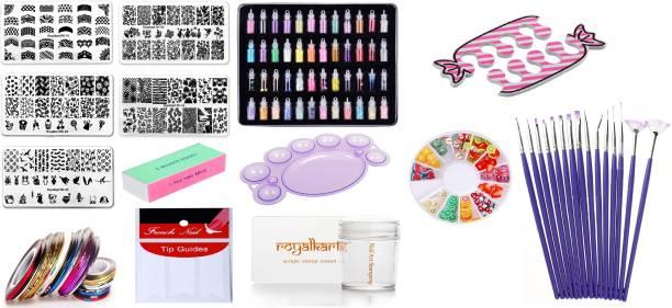 Royalkart Combo Of 3D Nail Art Stamping Kit 5 Rectangular Image Plates, Silicone Stamper & Scraper & 3D Nail Art Tools For Gift Girl & Women