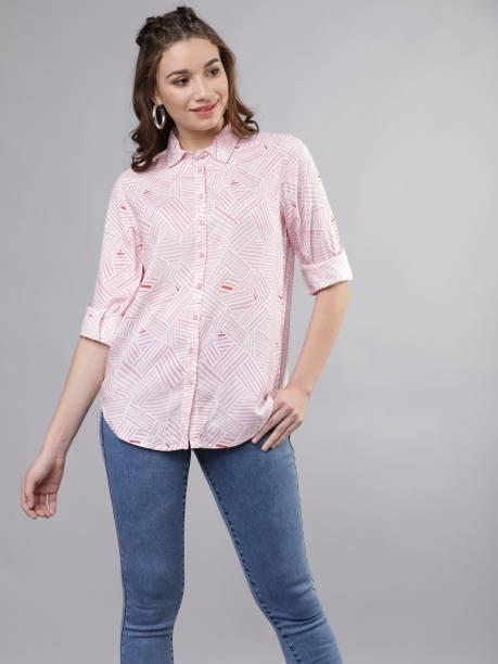 Tokyo Talkies Women Printed Casual Pink Shirt
