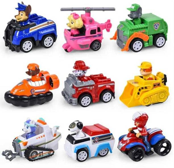 The Simplifiers Paw Patrol Dogs Racer Pups Figure Set of 9 Pieces with Vehicles(No Box)