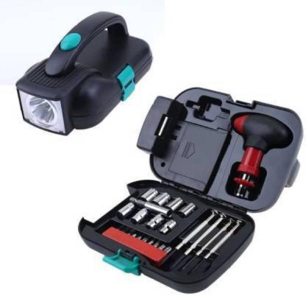 Stela 24 Pcs Portable Tool Box Set With Flashlight Vehicle Tool Kit