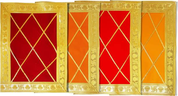 pooja hub Designer Velvet Deity Aasan (7 inches * 9 inches) Altar Cloth