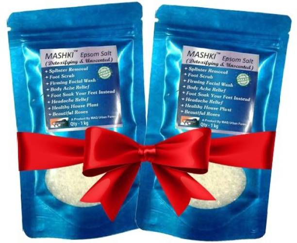 MASHKI Epsom Salt (Magnesium Sulphate) For Relaxation Muscle Relief, Relives Aches & Pain For Bathing (1kg x 2 nos)
