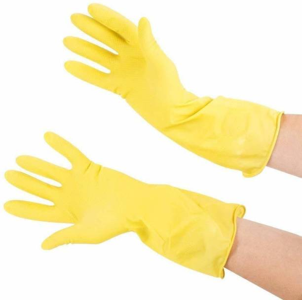 lalith Hand Care Long Sleeve Kitchen Antiskid Waterproof Household Glove Warm Dishwashing Glove Water Dust Stop Cleaning Latex Rubber Gloves Wet and Dry Glove(2) Gardening Shoulder Glove