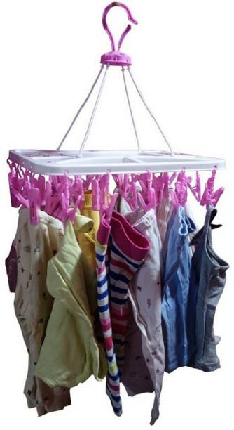 PRAPTI 28 CLOTH CLIP HANGING /PEGS HANGING , PLASTIC CEILING CLOTH DRYING STAND , CLOSET ORGANISER Plastic Cloth Clips