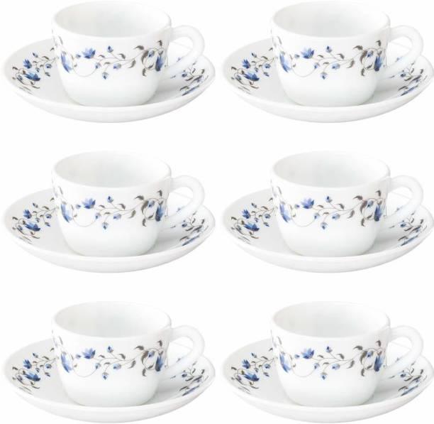 BOROSIL Opalware Present arah HEENA 6 pcs cup saucer Set {Cup 140ml (6 pcs)    Saucer 135mm (6 pcs)}