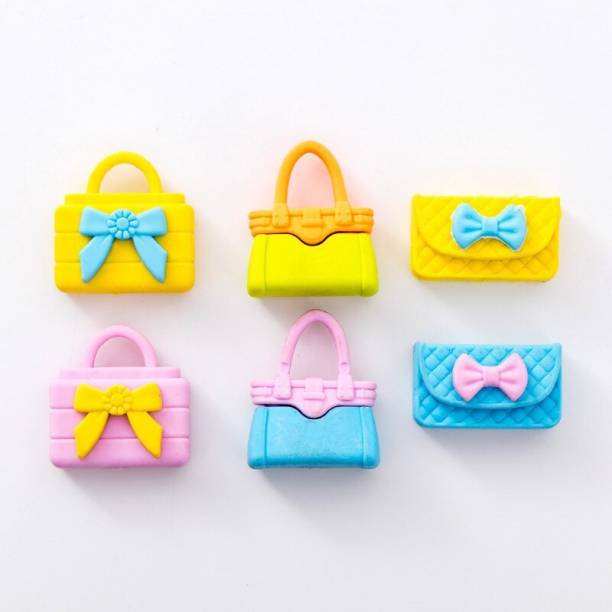 Paaroots Set of 6 Fancy and Stylish Purse Handbag Erasers, School Stationery for Girls (10 Pieces) Non-Toxic Eraser