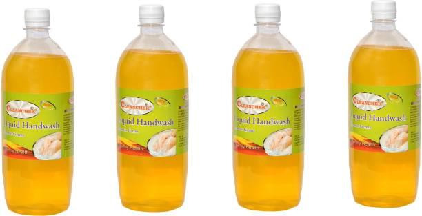 CLEANCHEK Liquid Hand Wash 1000ml (1 Ltr.) Lemon (Pack of 4) Refil Pack Hand Wash Bottle