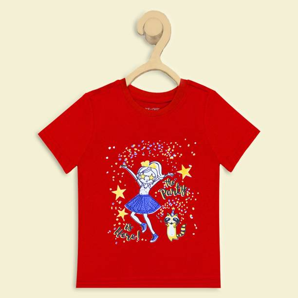 Miss & Chief Girls Printed Pure Cotton T Shirt