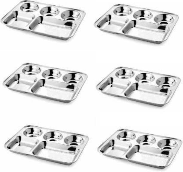 Classic Essentials Stainless Steel Square Lunch Dinner Plate Bhojan Thali 5 in 1 Compartments Dinner Plate