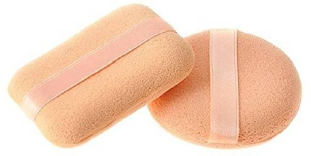 Miss Hot Sponge Make Up Cosmetic Foundation Powder Puff, Beige - Set of 2