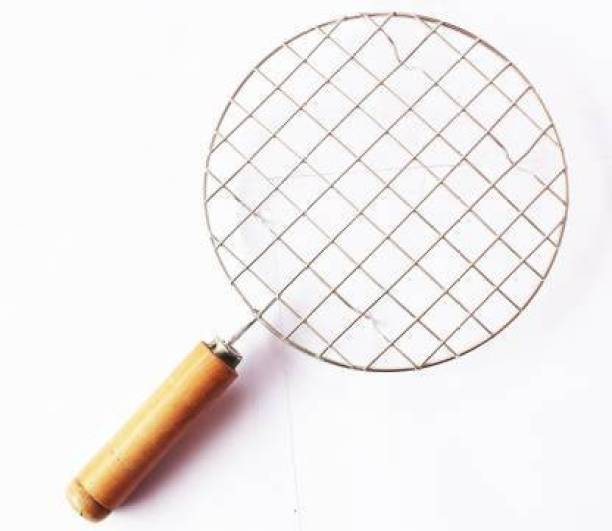 Care For You arbeque Jali Roti Roast Grill Papad Roaster Chapati Toast Grill Wooden Handle Paneer Tandoor Net 1 kg Roaster (Silver, Beige) 0.5 kg Roaster