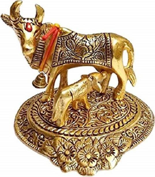 Rajcrafts Kamdhenu Oxidised Gold Finished Brass polish Cow and Calf Figurine Decorative Gift Item Decorative Showpiece Decorative Showpiece  -  10 cm