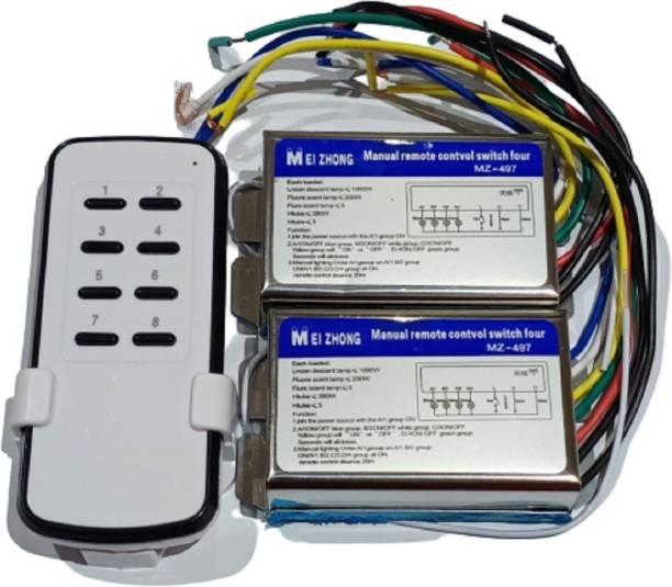 SiSAH 8(4+4) CH Wireless Remote Control Switch 2 Receiver +1 Transmitter 220 volt Smart Switch