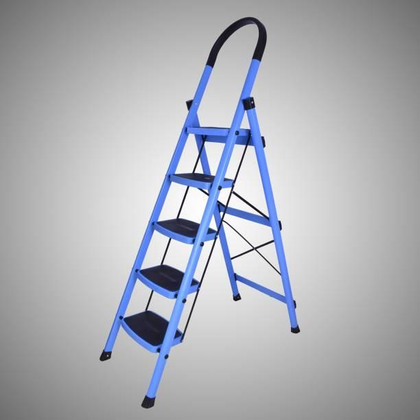 Plantex Prime Steel Folding 5 Step Ladder for Home - 5 Wide Anti-Skid Steps (Blue & Black) Steel Ladder