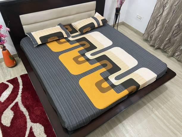 TIB 220 TC Cotton Double King Geometric Bedsheet