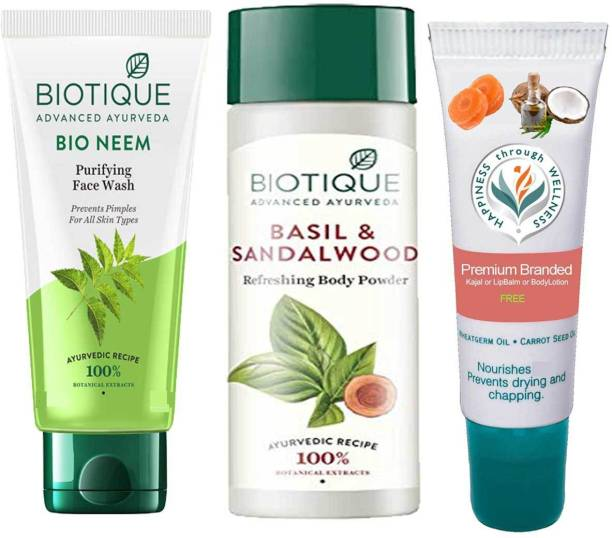 BIOTIQUE Youth Glow Face Skin Care Pack - Neem Face Wash, Basil and Sandalwood Refreshing Body Powder