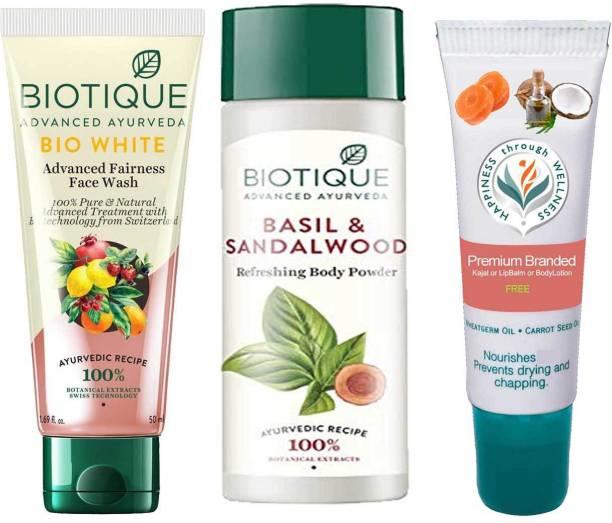 BIOTIQUE Skin Brightening Kit - White Face Wash, Basil and Sandalwood Refreshing Body Powder