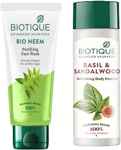 BIOTIQUE Youth Glow Face Skin Care Pack - Bio Neem Face Wash 200ml, Bio Basil and Sandalwood Refreshing Body Powder 150ml