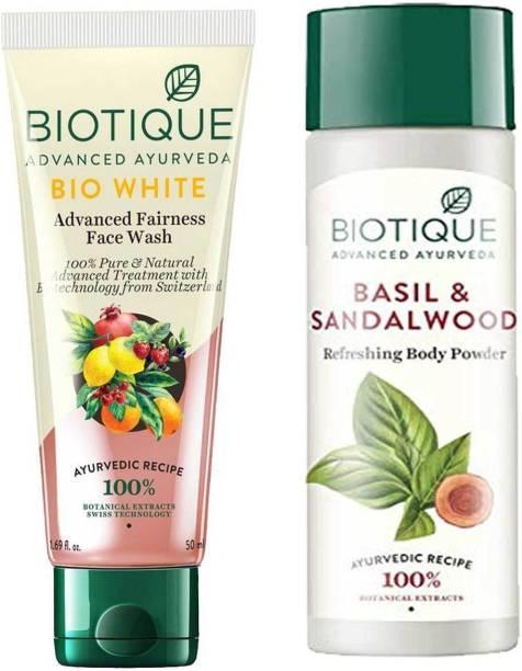 BIOTIQUE Skin Brightening Kit - Bio White Face Wash 200ml, Bio Basil and Sandalwood Refreshing Body Powder 150ml