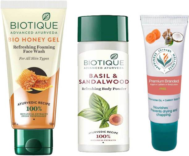 BIOTIQUE EverGreen Skin Care Pack Honey Gel Face Wash, Basil and Sandalwood Refreshing Body Powder