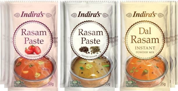 Indira Tomato Rasam Paste 50g (3 Nos) + Pepper Rasam Paste 50g (3 Nos) + Dal Rasam Powder 35g (3 Nos) Combo