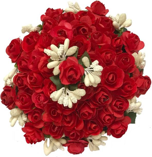 GadinFashion Artificial Flower Bun/Juda Accessories For Women/Girls (Pack-01,Color-Red&White) Bun
