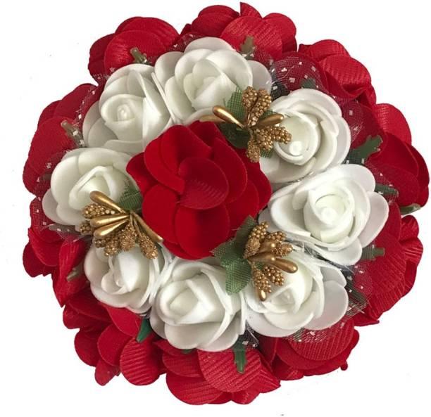 GadinFashion Artificial Flower Bun/Juda Accessories For Women/Girls (Pack-01,Color-White& Red ) Bun