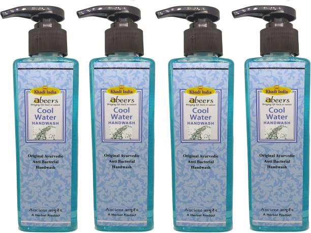 khadi abeers Cool Water Hand Wash - Pack of 4 (1000ml) Hand Wash Pump Dispenser