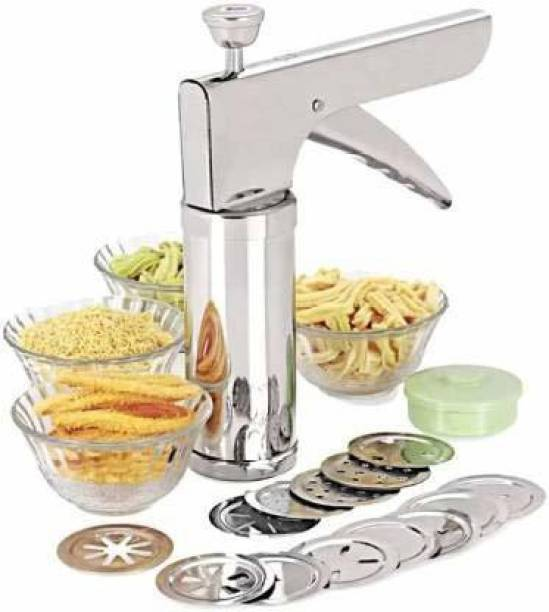 Royal Brothers Press/Murukku/Cookies/Noodles/Indian Snacks/idiyappam/chakri/Namkeen Sev Maker Press with Stainless Steel Jaalis Vegetable Chopper (1) Potato Chopper (1bhujia maker machine with 13 different blades) Chopper